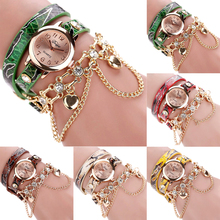 Women's Faux Leather Rhinestone Sling Chain Wrap Quartz Girl Wrist Watch