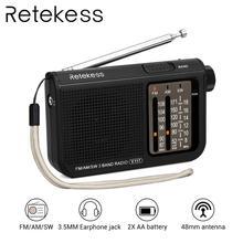 RETEKESS V117 радио портативный AM FM Небольшой Аварийный транзистор радио приемник коротковолновый батарея питание тюнер приемник для старшего