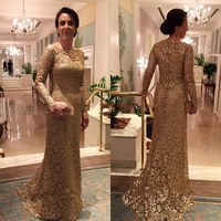 2017 robe de soiree Gold Lace Mermaid Long Evening Dresses 2016 Long Sleeves Mother of the Bride Dresses Formal Dress abendklei