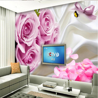 beibehang Wallpaper Mural Wall Stick Silk Rose Petal Background Wall papel de parede 3d para sala atacado 3d wallpaper