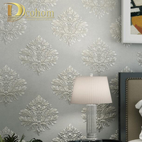 Simple European Embossed Damask Wallpaper For Walls 3 D Damask Luxury Bedroom Decor Modern Wall Paper