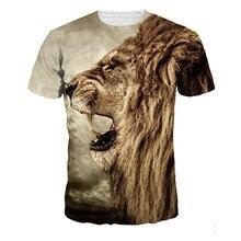 2016 Popular Men's T-shirt Casual t shirt Men Tees Tops Animal Lion Printing high quality tee shirt