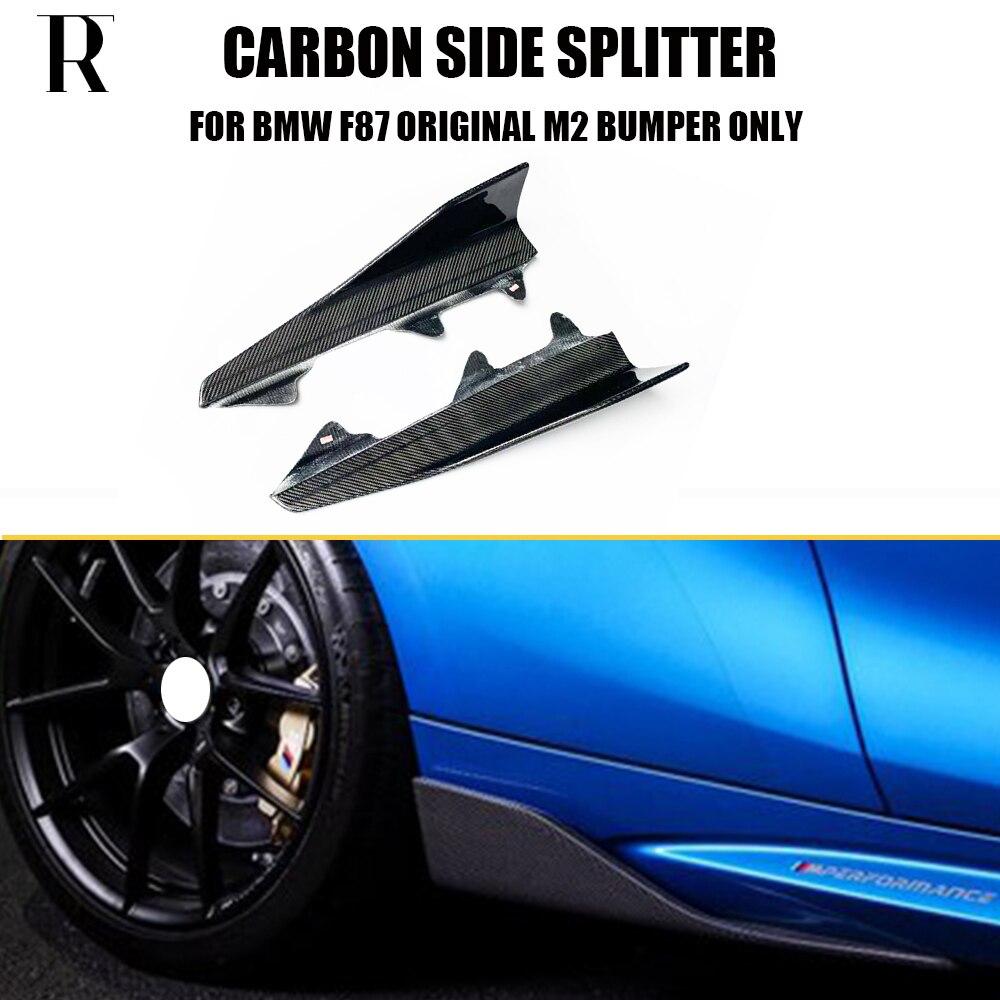1 paire M2 fibre de carbone côté jupe Cupwings séparateur tablier rabats pour BMW F87 M2 Base Coupe 2016 UP