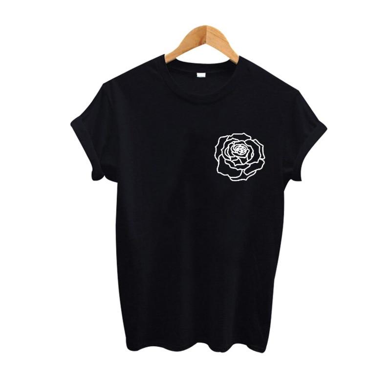 Line Art Shirt : Rose line art t shirt harajuku women summer