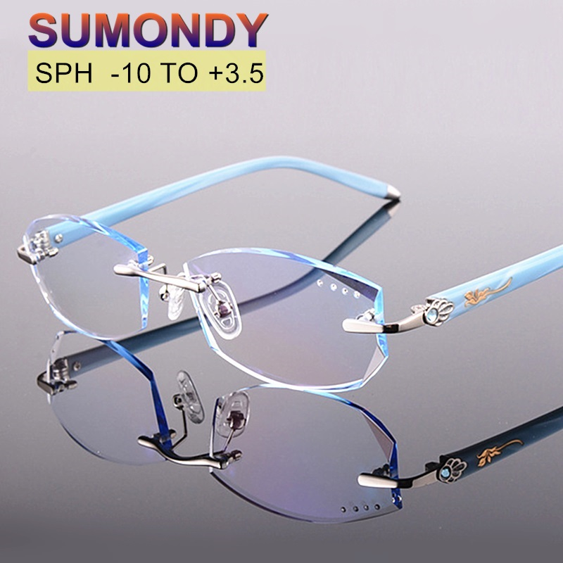 Diopter 10 to 3 5 Rimless Prescription Glasses For Myopia or Presbyopia Women Gradient Lenses Titanium
