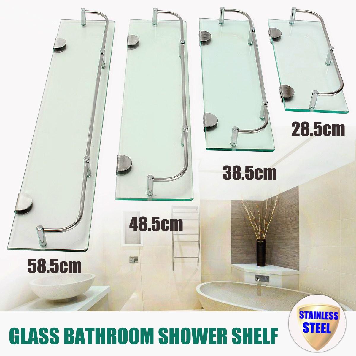 Glass Shower Shelf Bathroom Rack Organizer Holder Rectangle Tier Bathroom Hardware Shampo Mirror Front Rack Wall Mount Shelf