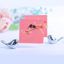 20 шт./лот любовь птицы свадебный держатель карточки с именем гостя Матовый Серебряный фоторамка вечерние украшения