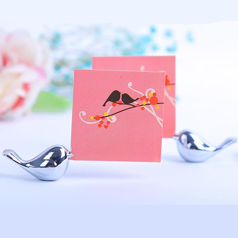 20PCS / LOT Love Birds Wedding Place Titular de la tarjeta de plata cepillada Placecard Photo Frame Party decoración