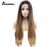Anogol High Temperature Fiber Peruca Cabelo Black Ombre Blonde Wig Long Straight Synthetic Lace Front Wig For Women Cosplay
