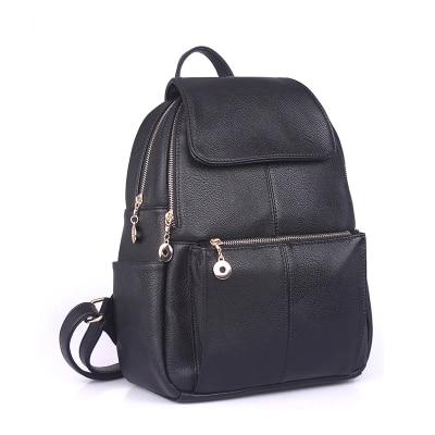 2016 College Style Split Leather Backpack Black Women Travel Bag School Backpack Pouch Mochila Women Backpack