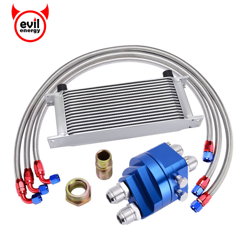 evil energy 16ROW 10AN Transmission Oil Cooler Kit+Oil Filter Adapter+1M/1.2M/1.4M Nylon Stainless Steel Braided Hose Line vr universal 13 rows trust type oil cooler an10 oil sandwich plate adapter with thermostat 2pcs nylon braided hose line