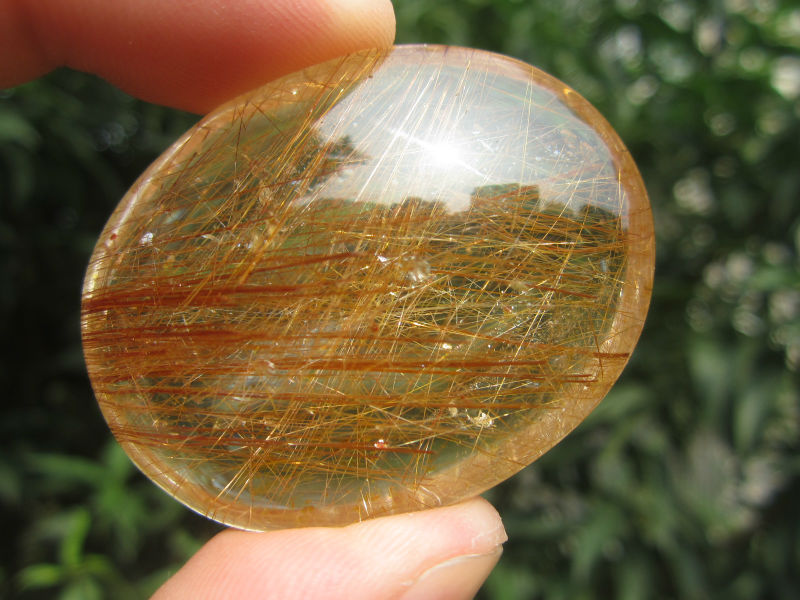 only one!!!! 39g(195 ct) Natural Hair Rutilated Quartz Crystal Pendant Cab China YARC004