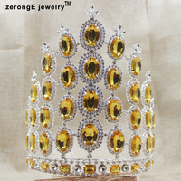 zerongE jewelry7.8inch Fantastic Miss Beauty Pageant Crown yellow color Crystals Large Headband Hair decoration crown