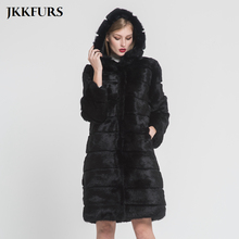 JKKFURS 95cm New Women Real Natural Rabbit Fur Coat Hood Fashion Luxury Style Winter Warm Jacket Top Quality Outwear S7379