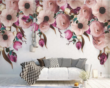 beibehang papel de parede Creative beautiful wallpaper American hand painted rose flower modern background wall paper
