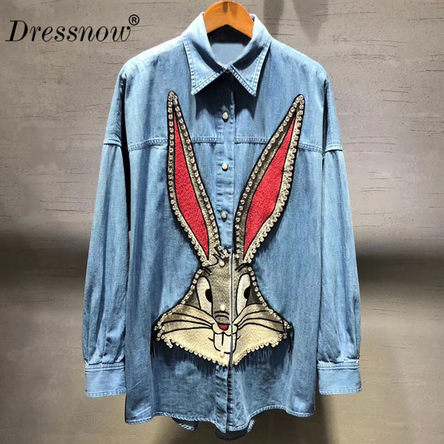 Top Quality denim blouse for women spring long sleeve blouse casual cartoon print blouse jeans