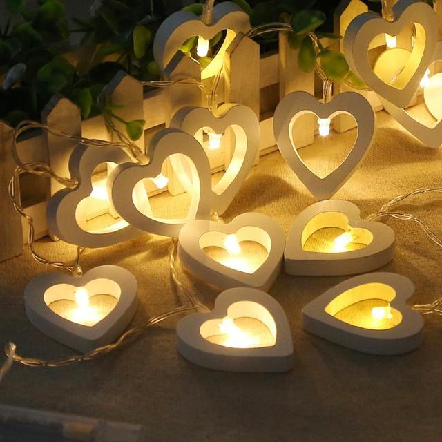 10 Led Wooden Heart Shape String Light Battery Ed Fairy Decorative Lights For Christmas Xmas Wedding Party