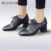 Plus Size 34-43 Women Pumps British Style Square Toe Embossed Leather Chunky High Heels Woman Black Lace-up Girls Casual Shoes