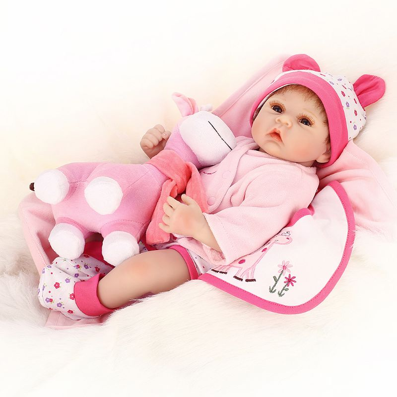 M89C50cm Silicon Lifelike Babydoll Pink Deer Apron Blanket Cute Toy Early Childhood цена