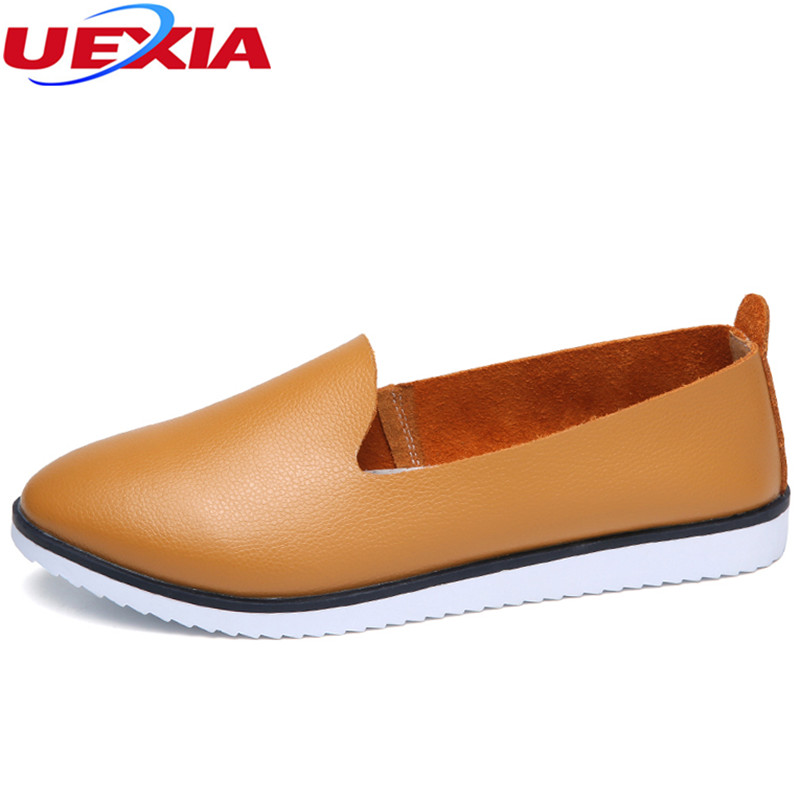 UEXIA 2018 Split PU Leather Oxford Flats Shoes For Women New Spring Slip-on Round Toe College Casual Fashion Ladies Lazy Loafers new shallow slip on women loafers flats round toe fishermen shoes female good leather lazy flat women casual shoes zapatos mujer