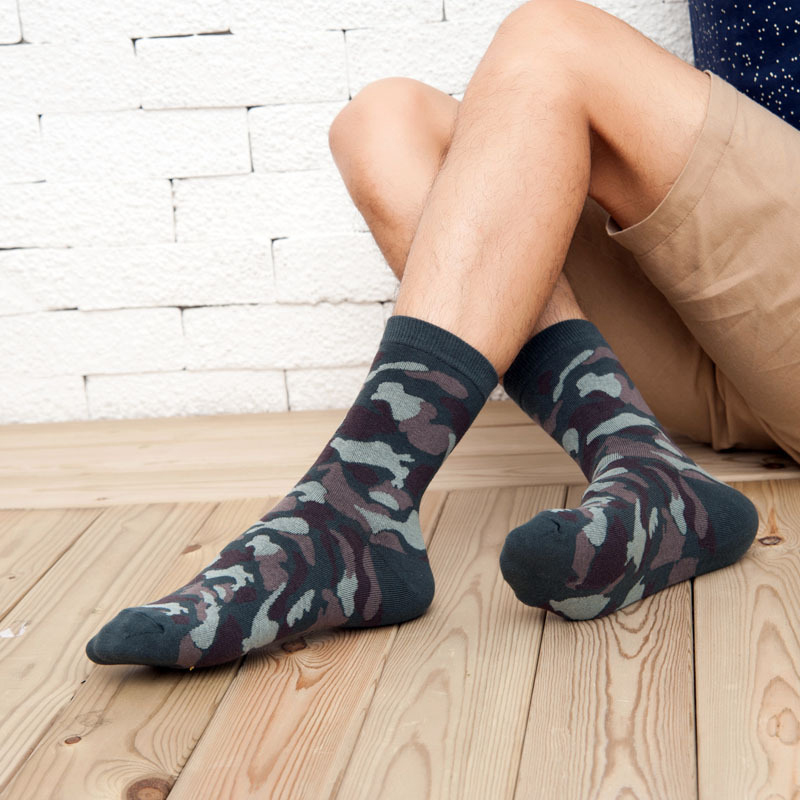 5 Pairs efero Men Cotton Sock for Autumn Winter Short Socks Fashion Mens Camouflage Print Socks Novelty Business Dress Sock Mens