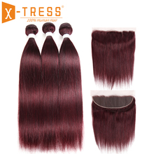 99J/Burgundy Red Color Human Bundle Hair With Frontal X-TRESS Brazilian Straight Human Hair Weave 3/4 Bundles Non-Remy Hair Weft