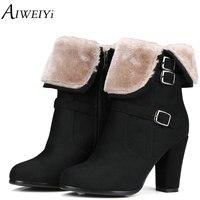 AIWEIYi Brand Designer 2018 New Autumn Winter Women Boots Black High Heels Boots Fur Warm Platform