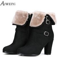 AIWEIYi Brand Designer 2018 New Autumn Winter Women Boots Black High Heels Boots Fur Warm Platform