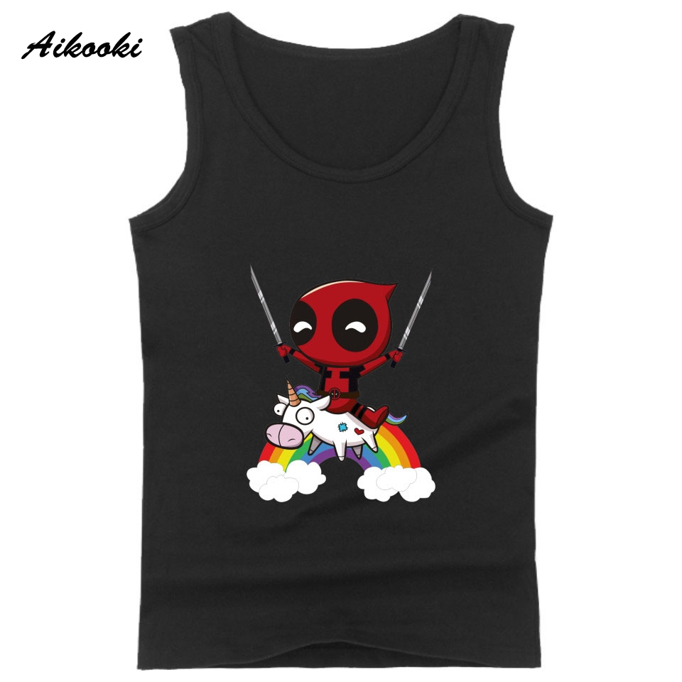Aikooki 2018 Hot Unicorn Funny Summer Fashion Sleeveless Vest Male Female Cotton Casual Black Man Women Popular Cool   Tank     Top