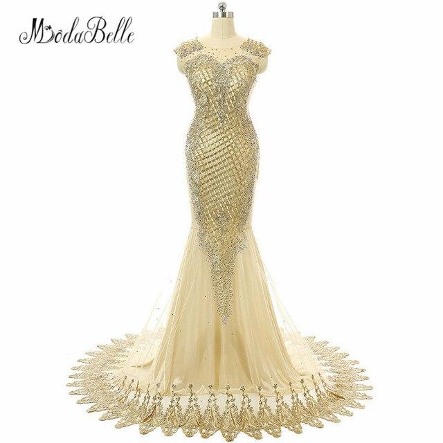 modabelle Champagne Gold Mermaid Evening Dresses Long Lace Embroidery Dubai  Abiti Lunghi Da Sera 2018 Evening Party Dress 9b97f6bcc69d