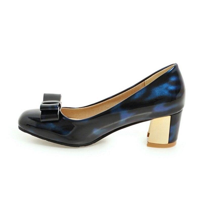 Bleu Bowknot Printemps En Pompes Sur Chaussures gris Talon Femmes 45 Taille Métal 33 Floral Glissement Des Fizaizifai rouge Dame Bowtie Pour Bureau Épais gq6RAxCqw