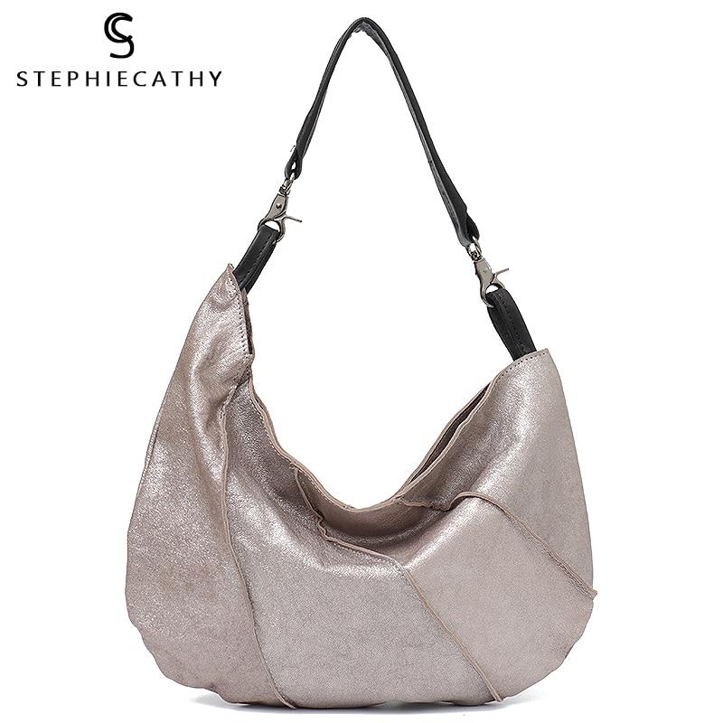 SC Vintage Genuine Leather Hobo Bag Half Moon Ladies Shoulder Bags for Women 2018 Sheepskin Patchwork