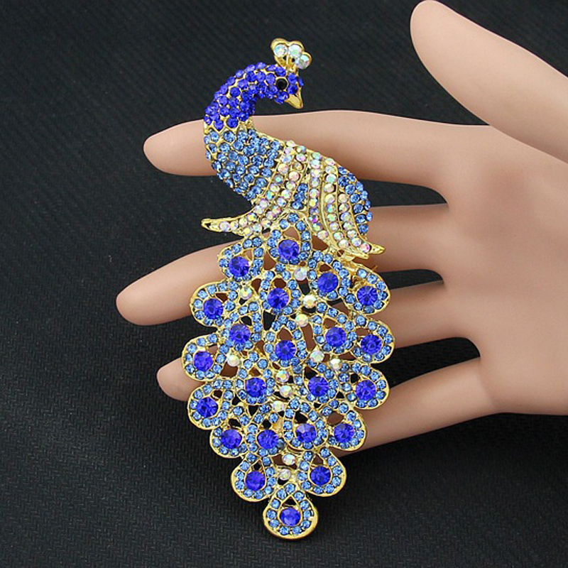 baiduqiandu Large Size 120mm Height Beautiful and Luxury Peacock Brooch Pins for Dresses Coat Jewelry in 6 Colors