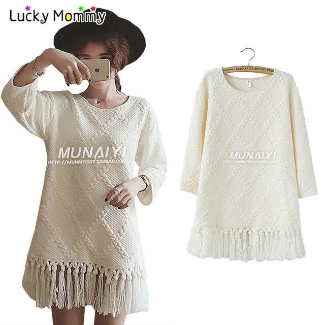 White Embossed Tassel Maternity Dress Dresses Winter Casual Pregnancy Dress Maternity Clothes for Pregnant Women Maternity-dress