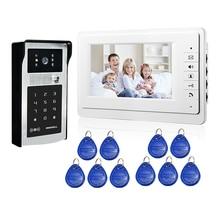 """ENVÍO de la Nueva 7 """"LCD Sistema de Videoportero De Intercomunicación 1 Monitor + Código de Teclado RFID Al Aire Libre Cámara Timbre Remoto + En Stock"""