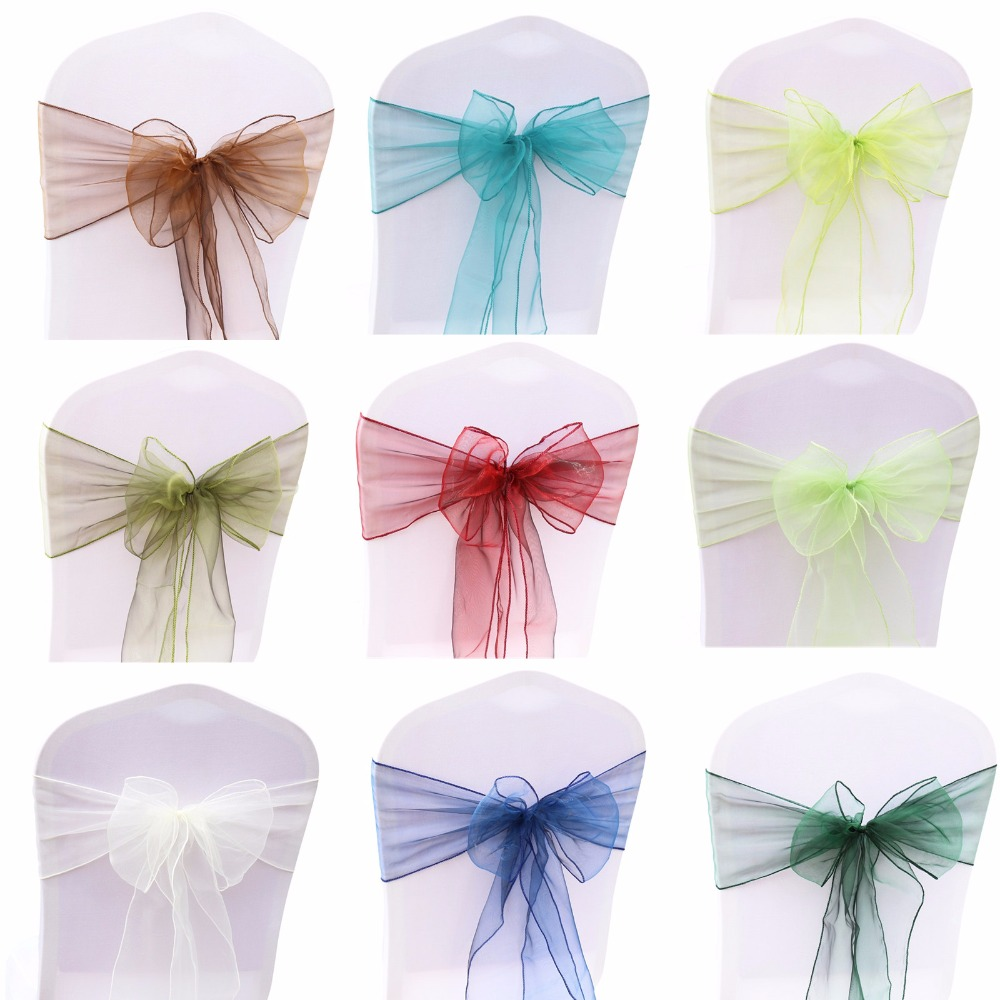 100PCS Wedding Party Organza Fabric Ribbon Chair Sashes For Banquet Event Birthday Party Decoration Home Textile