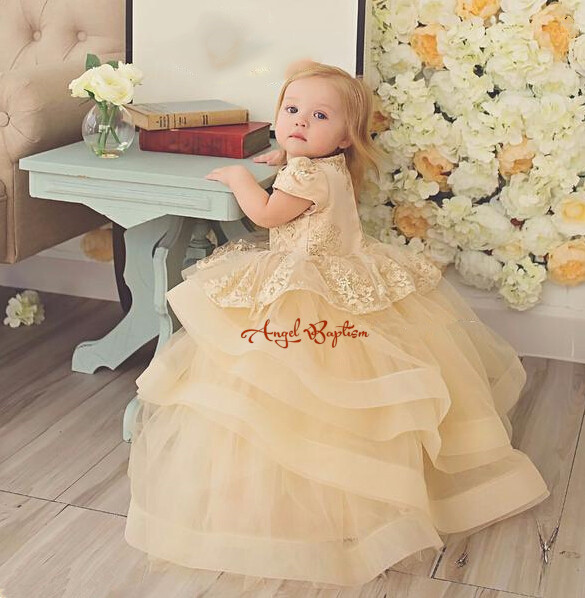 Champagne flower girl dresses lace tutu ruffles baby birthday outfit tiered toddler gown for kid prom evening party with sleevesChampagne flower girl dresses lace tutu ruffles baby birthday outfit tiered toddler gown for kid prom evening party with sleeves