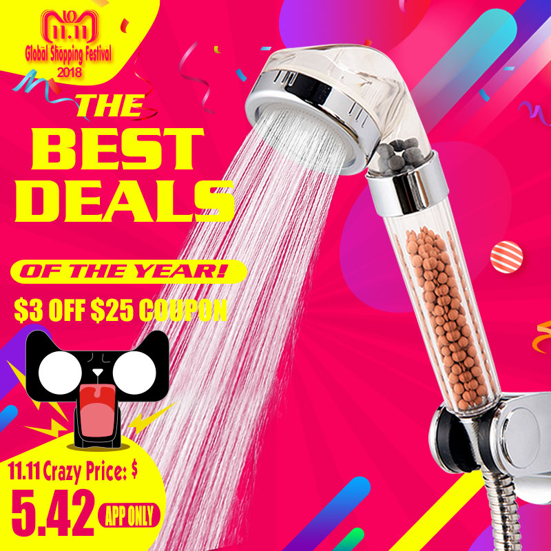 Bad Wasser Therapie Dusche Anion SPA Dusche Kopf Wasser Wassersparregen Dusche Filter Kopf Hochdruck ABS Spray ZJ013