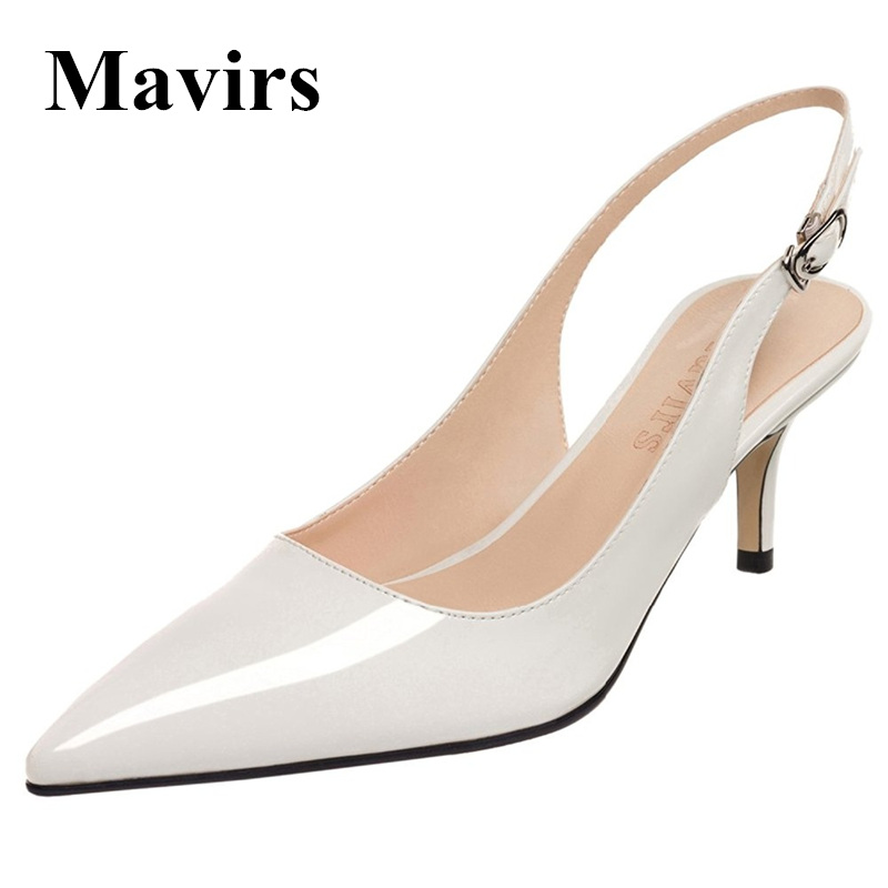 MAVIRS Brand Women Pumps 2018 Spring Pointed Toe Patent 6.5CM Stilettos White High Heels Bride Wedding Shoes US Size 5-15 mavirs brand women ankle boots 2018 pointed toe matt 4 75 inches chunky high heels black gray gold white shoes us size 5 15
