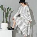 [Soonoyur] 2017 новая весна шею длинным рукавом белый полосатый свободные dress для женщин моды прилив все матч Y07400