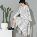 [soonoyur] 2017 new sping round neck long sleeve white striped loose dress for women fashion tide all-match  Y07400