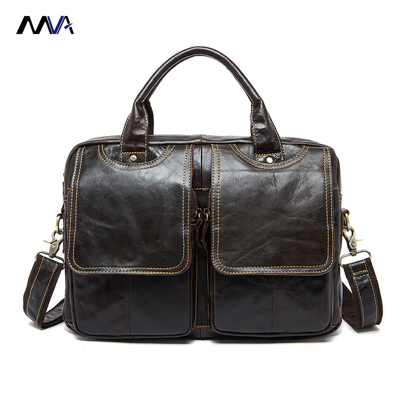 MVA New Genuine Wax Leather Men's Satchel Handbags For Men Shoulder Bags Briefcase 14' Laptop Bag сварочный аппарат инверторный bort bsi 220s