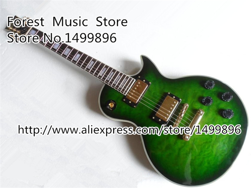 Classical Musical Instruments Vintage Green Quilted LP Custom Electric Guitars Kits Lefty Available