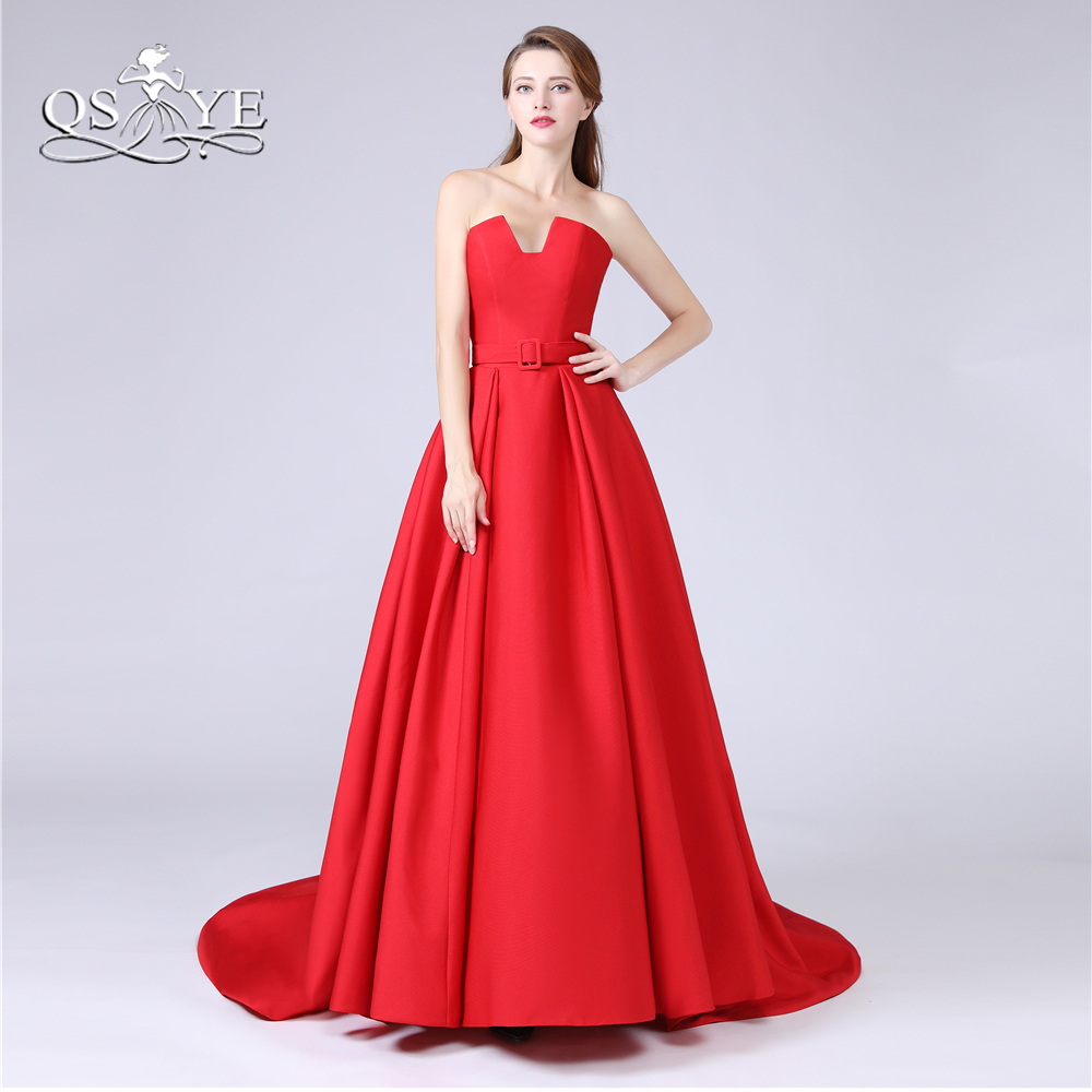 QSYYE 2018 New Red Long Prom Dresses with Pockets Strapless Floor ...