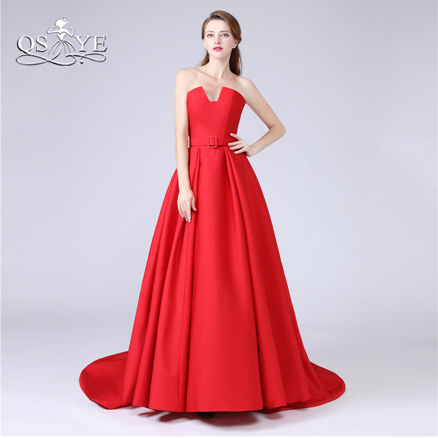 9a24dea29a4 QSYYE 2018 New Red Long Prom Dresses with Pockets Strapless Floor Length  Satin Formal Evening Dress Long Party Gowns Custom