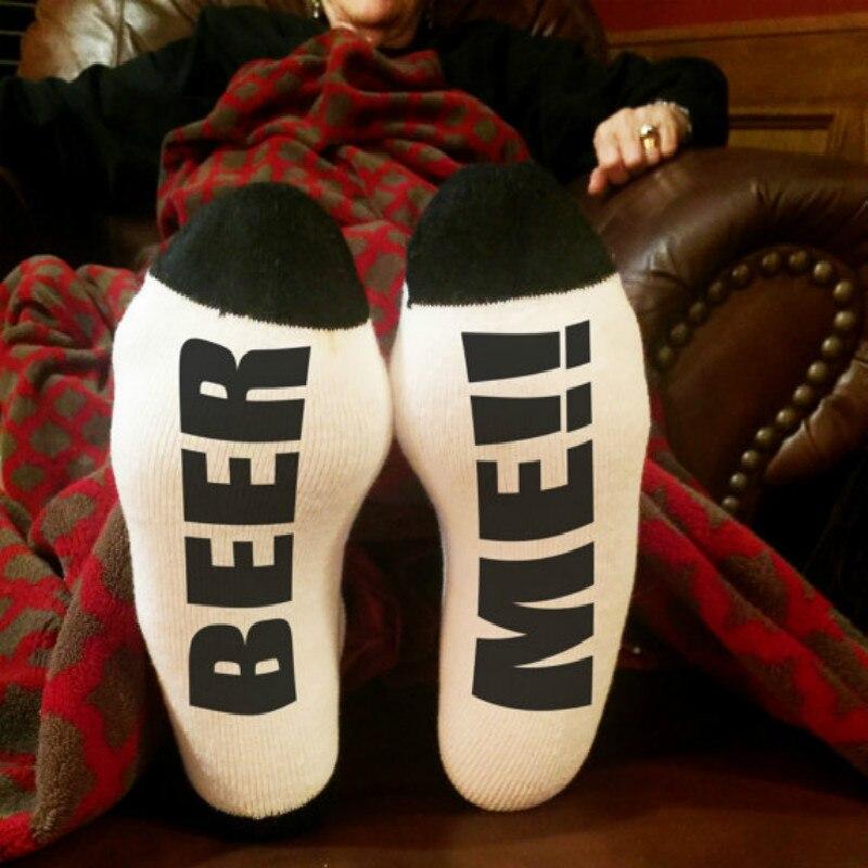 Classic Black White Socks BEER ME Funny Letter Socks for Men Women Cotton Socks Lovely Gifts for New Year