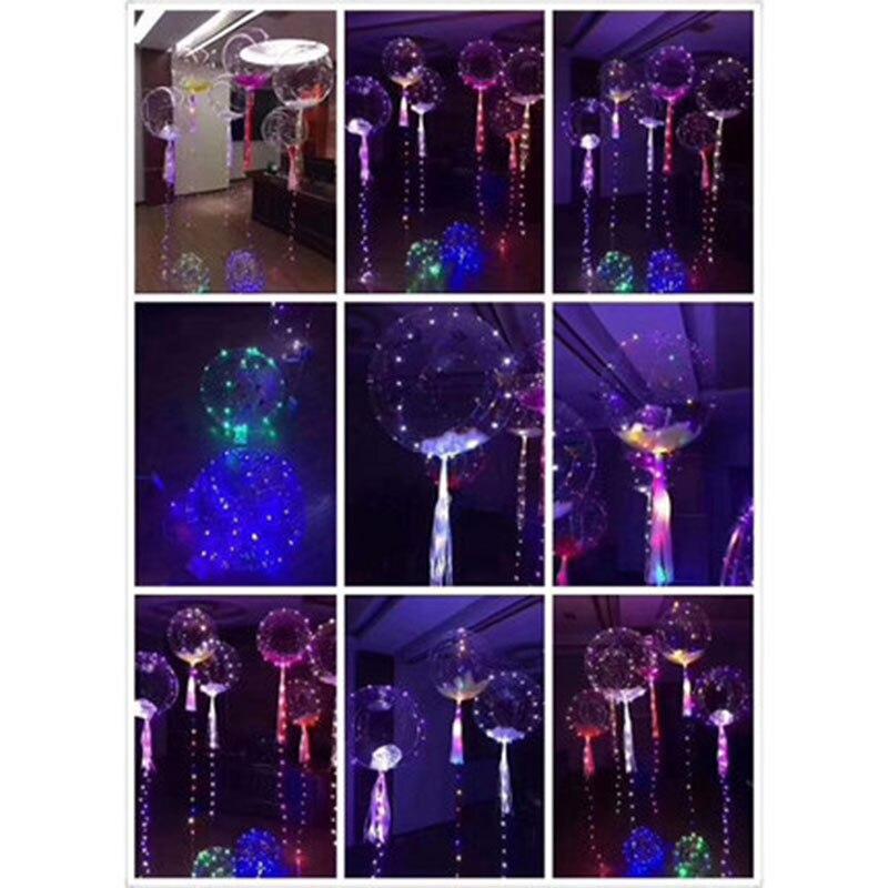 10psc18-inch transparent Bobo birthday party decoration wedding layout LED lantern glow line balloons toy balloon wholesale