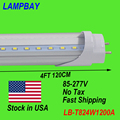 (30 Pack) Free Shipping LED Tube 4FT 120cm 24W T8 G13 bulb work into existing fixture retrofit light 85-277V Stock in USA NO Tax