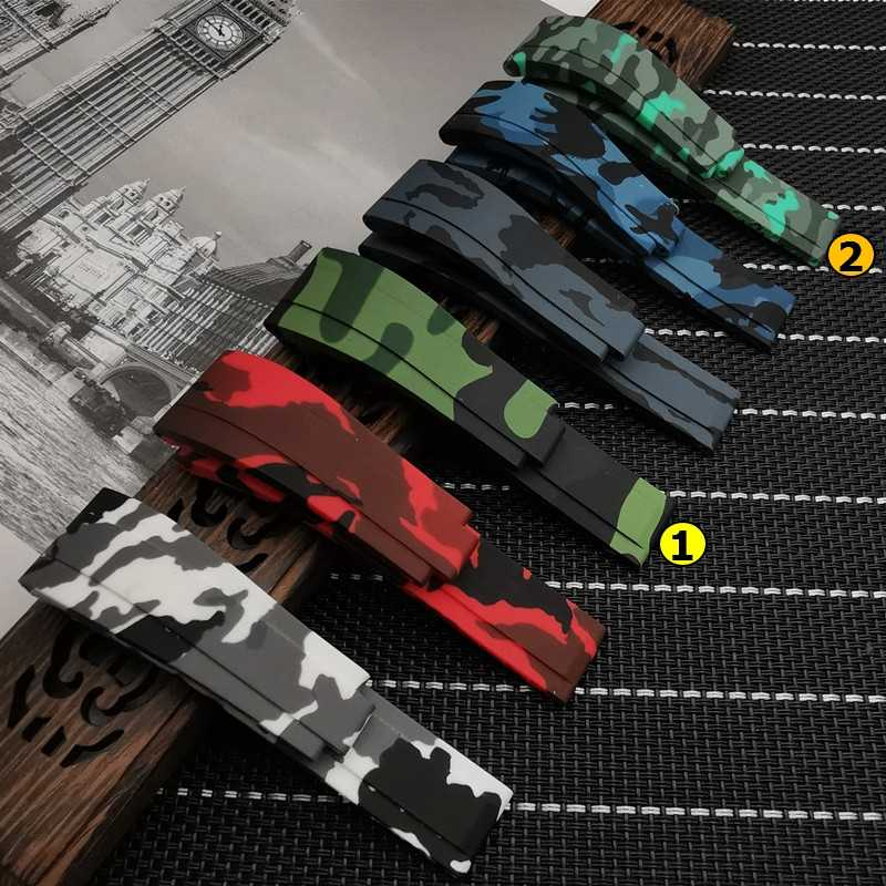 Silicone Rubber Watchband 20*16mm accessories Camo watch band For Role strap Daytona Submariner GMT OYSTERFLEX