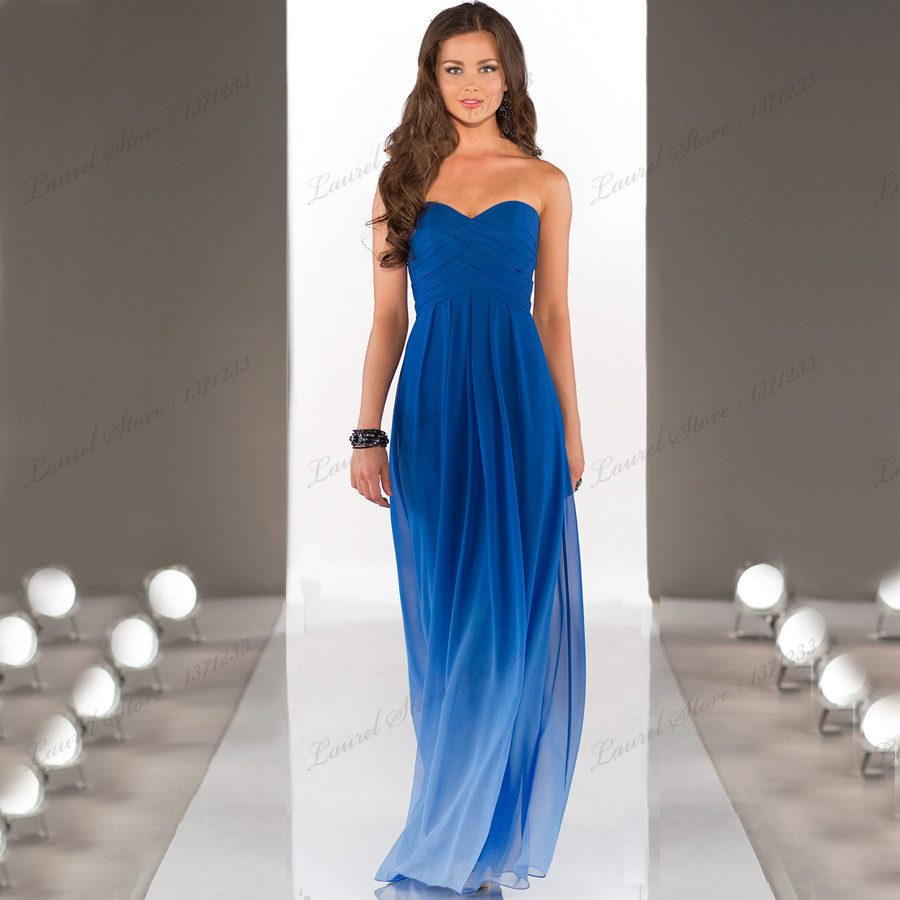 Dress up brides and weddings picture more detailed picture about 2015 sweetheart off shoulder simple elegant chiffon wedding party gradient royal blue dresses short long bridesmaids ombrellifo Image collections